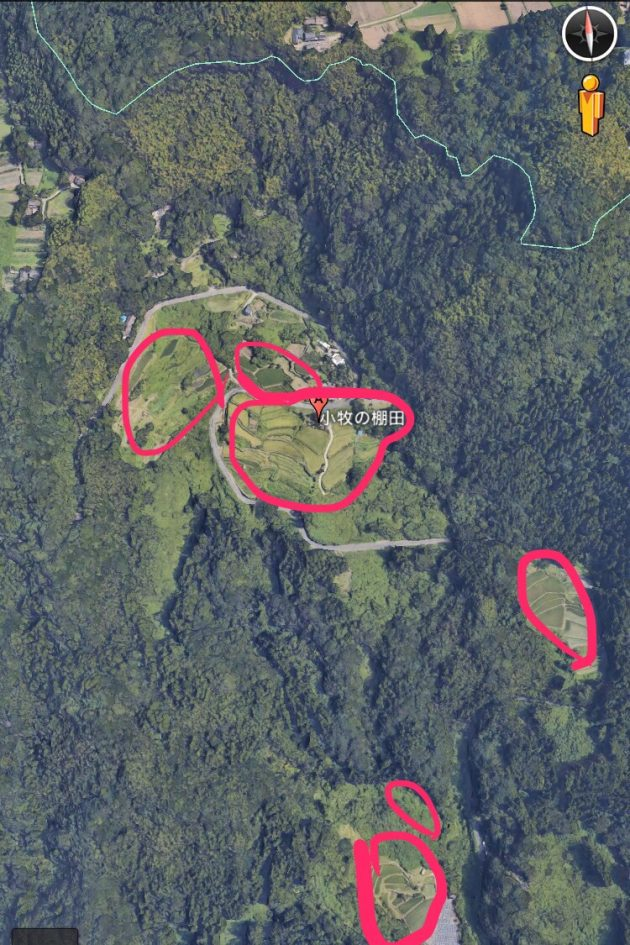 Google Earthの小牧の棚田